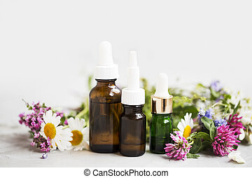 Essential oils with medicinal plants and flowers