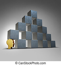 Essential services and crucial support concept as a head icon supporting a group of blocks in a pyramid formation as a symbol for being the cornerstone for an organization.