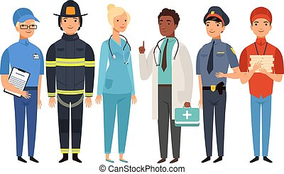Essential workers. Isolated frontliners group, people working on virus pandemic. Doctor policeman fireman postman delivery boy vector set. People illustration in uniform, healthcare employment safety