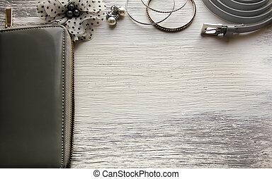 Essentials fashion woman objects. Female accessories: wallet bracelets earrings belt