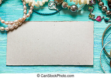 Essentials fashion woman objects on wooden turquoise background