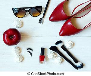 essentials, fason, kobieta, obiekty, na, drewniany, tło