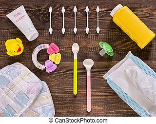essentials, legno, scuro, bambino, tavola, cura