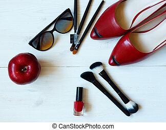 essentials, mode, kvinna, objekt, på, trä, bakgrund
