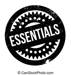Essentials rubber stamp. Grunge design with dust scratches....
