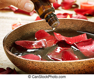 essentie, oil., aromatherapy., behandeling, spa