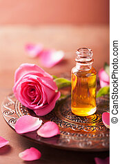 essentieel, aromatherapy, oil., spa, bloem, roos