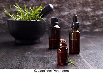 essentieel, rozemarijn, oliën