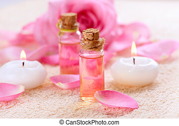 essentiel, aromatherapy., bouteilles, spa, rose, huile