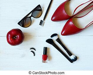 essentiel, mode, femme, objets, sur, bois, fond