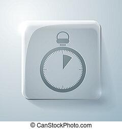 essentiels, stopwatch., carrée, icône, verre