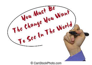 essere, affari donna, sopra, isolato, scrittura, cambiamento, fondo., vedere, lei, asse, volere, vuoto, pennarello, mondo, bianco, mano, concept., trasparente, dovere