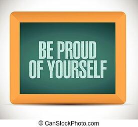 essere, orgoglioso, segno, illustrazione, te stesso