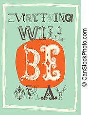 essere, poster., vendemmia, motivazionale, volontà, tutto,...