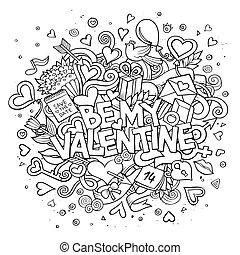 essere, scarabocchiare, mano, vettore, disegnato, valentina, mio, cartone animato