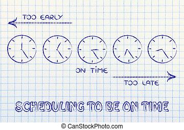 essere, time:, tardi, clocks, presto, tempo, programmazione