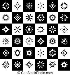 essere, usato, icone, astratto, pattern., seamless, disegno, potere, set.