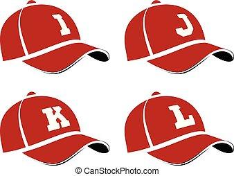 essere, usato, lettere, alfabeto, abbreviazioni, capitale, illustrazione, cappucci, giocatore, vettore, baseball, lattina, squadra, names., o, nomi