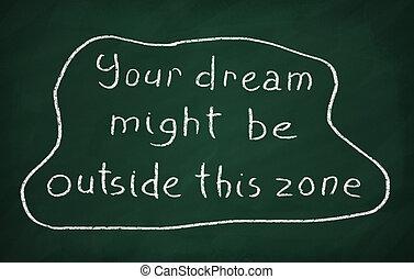 essere, zona, questo, lavagna, gesso, esterno, scrivere, text:, sogno, tuo, potere