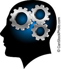 esseri umani, cervello, con, gearwheel, dentro