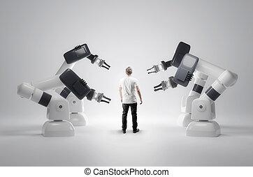 esseri umani, robotic, macchine