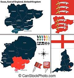 Essex, East of England, UK - Vector map of Essex in East of...