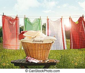 essiccamento, clothesline, asciugamani, cotone