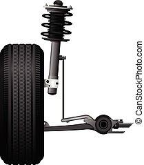 essieu, amortisseur, icône, alignement, suspension, roue, -, service, choc, voiture