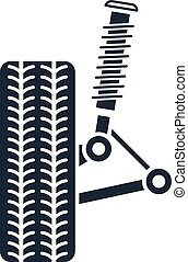 essieu, icône, suspension, alignement, amortisseur, roue, service, -, voiture