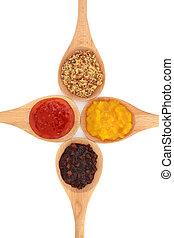 essiggurke, senf, auswahl, soße