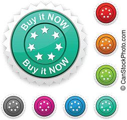 esso, button., comprare, premio, ora