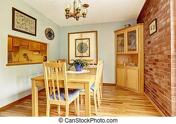 Esszimmer, Mit, Ziegelmauer, Und, Ecke, Kabinett