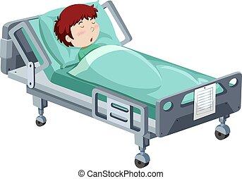 está enfermo, niño, cama del hospital