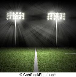 estádio, jogo, noturna, luzes, ligado, pretas