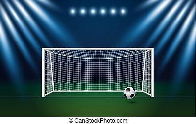 estádio, meta, futebol, ilustração, vetorial, fundo, futebol, holofote