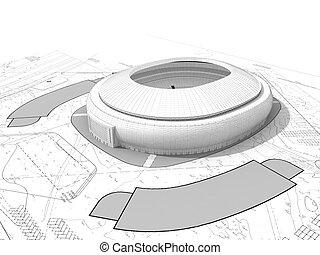 estádio, render, 3d, futebol, arena, blueprint