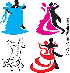 estándar, -, baile, icono