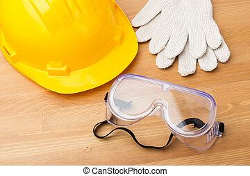 estándar, construcción, equipo de seguridad