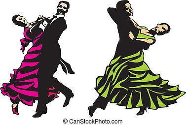 estándar, latino, -, baile de salón