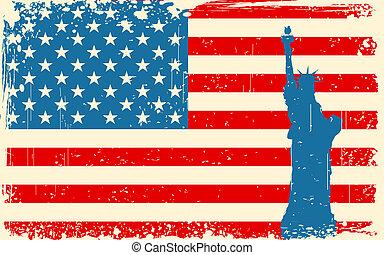 estátua, bandeira, americano, liberdade