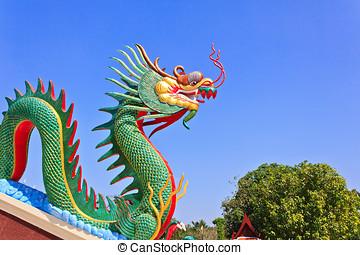 estátua, cabeça, telhado, coloridos, dragão