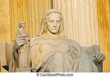 estátua, chamado, contemplação justiça, em, eua corte suprema, em, washington, dc.