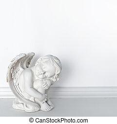 estátua, de, dormir, cupid, branco, fundo, com, espaço cópia, para, texto