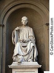 estátua, di, famosos, arquiteta, cambio-, arnolfo, florença