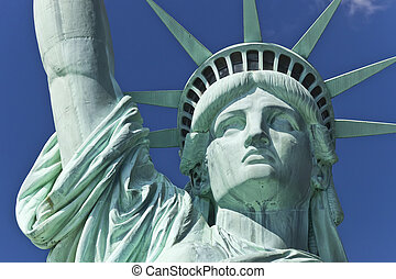 estátua, liberdade, detalhe