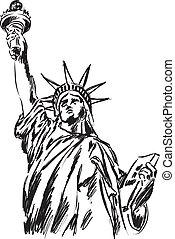 estátua, liberdade, ilustração