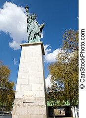 estátua, liberdade, pari