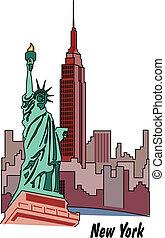 estátua, nova iorque, liberdade