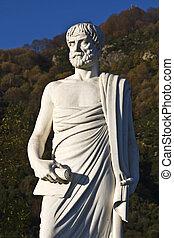 estátua, stageira, localizado, aristotle, grécia
