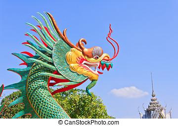 estátua, telhado, coloridos, cabeça, dragão